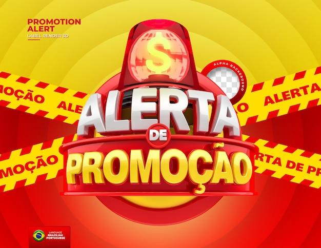 브라질에서 제안에 대한 레이블 경고는 마케팅을 위해 포르투갈어로 된 3d 템플릿을 렌더링합니다.