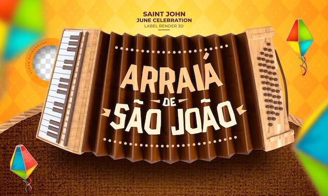 Этикетка arraia de sao joao 3d визуализации фестиваля junina в бразилии