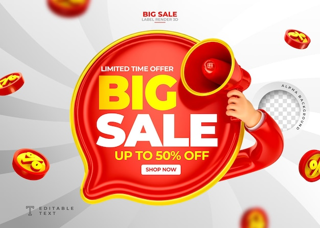 Label big sale up to 50 off 3d render with megaphone and hand in cartoon template design