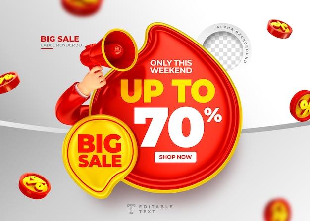 Этикетка big sale до 70 от 3d-рендера с мегафоном и рука в мультяшном дизайне шаблона