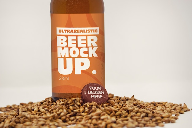 Label and cap mockup with malt