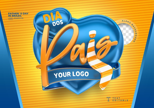 Label fathers day in brazil 3d render template design heart