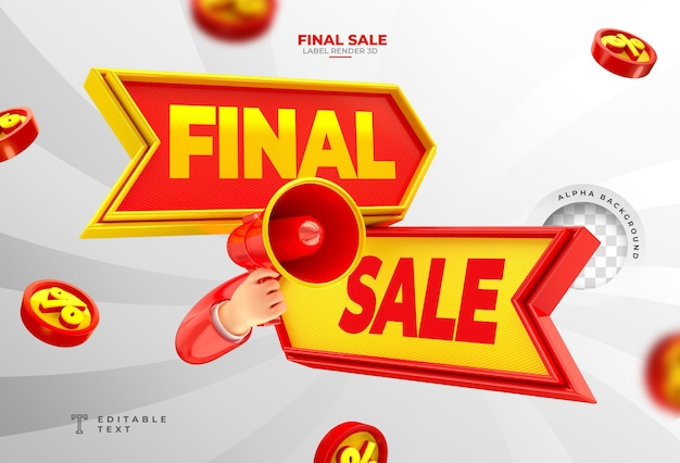 Label final sale  3d render with megaphone and hand in cartoon template design