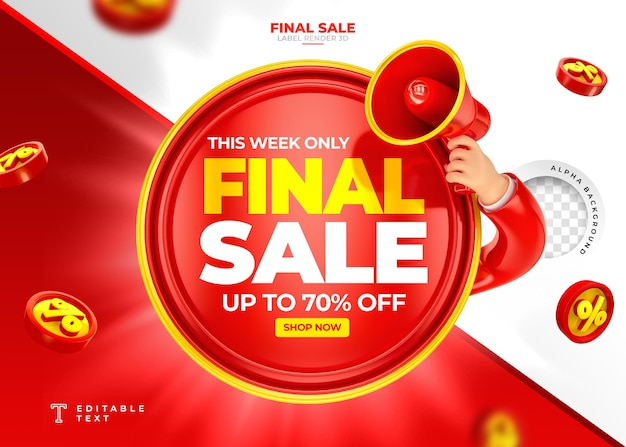 Label final sale up to 70 off 3d render with megaphone and hand in cartoon template design