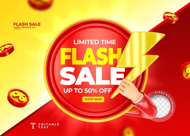 Label flash sale up to 50 off 3d render with megaphone and hand in cartoon template design