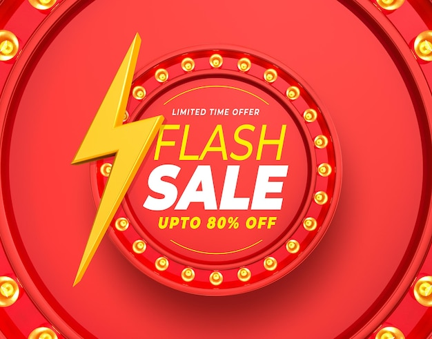 Label flash sale up to 80% off with rays and lights 3d render
