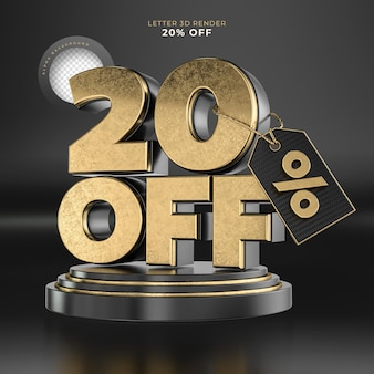 Label letter 20 off 3d render black and gold