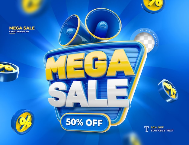 Label mega sale 50 off 3d render icon percent
