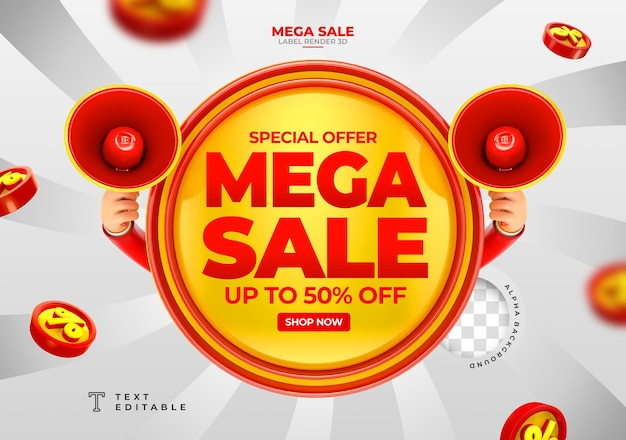 Label mega sale up to 50 off 3d render with megaphone and hand in cartoon template design