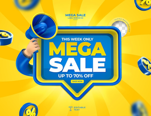Label mega sale up to 70 off 3d render with megaphone and hand in cartoon template design