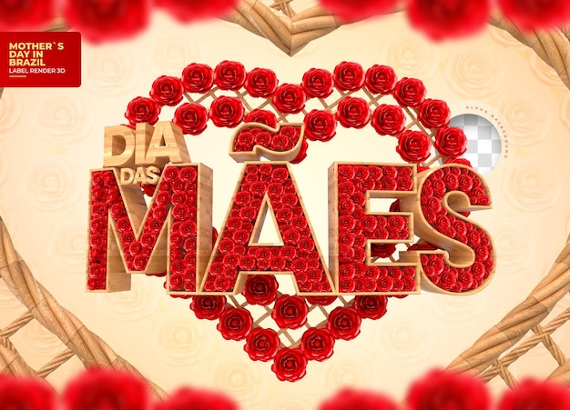 붉은 꽃과 문자열 3d 렌더링 브라질에서 어머니의 날 레이블