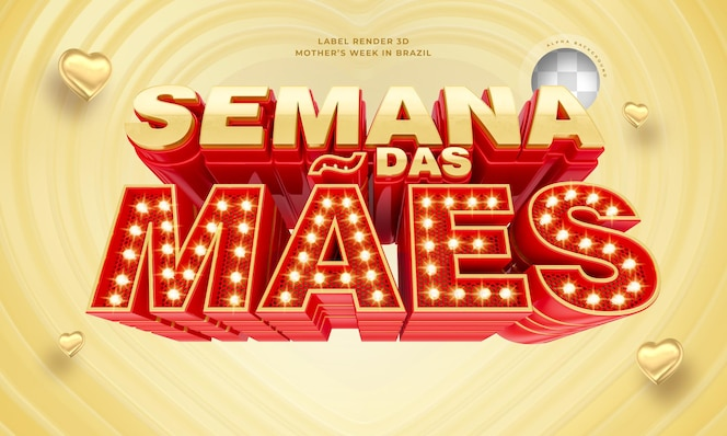 Этикетка неделя матери в бразилии 3d визуализации с огнями