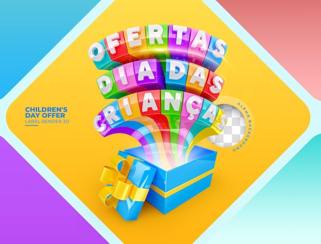 Label offers childrens day 3d render in brazil template design in portuguese