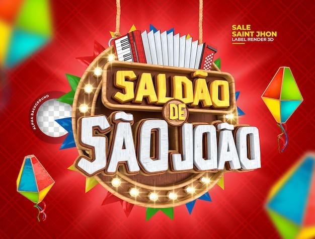 Label sale sao joao 3d render festa junina in brazil