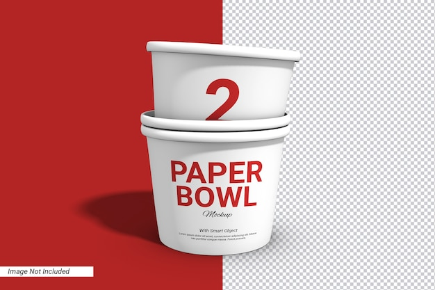 Label stack paper bowl cup mockup isolated