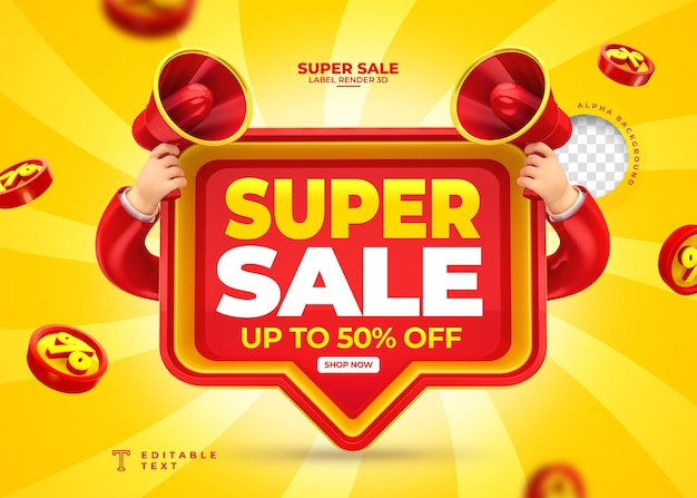 Label super sale up to 50 off 3d render with megaphone and hand in cartoon template design