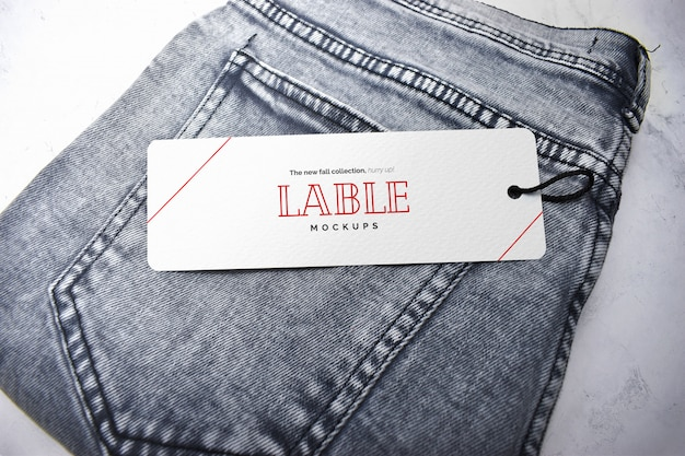 Label tag and jeans mockup