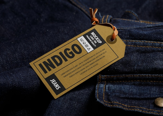 Label tag mockup on a jeans clothing