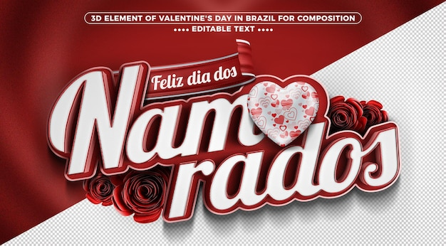 ブラジルの3dレンダリングでバレンタインデーにラベルを付ける