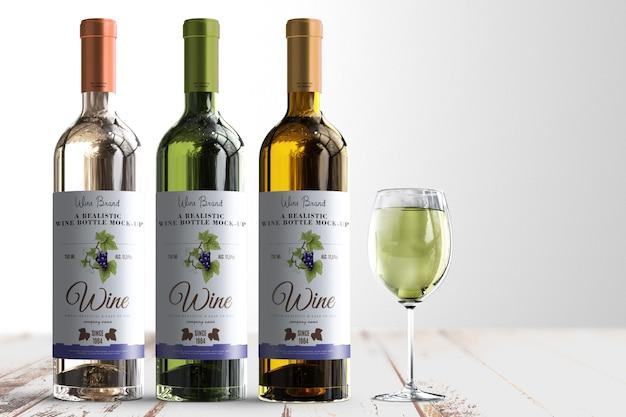 Реалистичная винная бутылка label макет