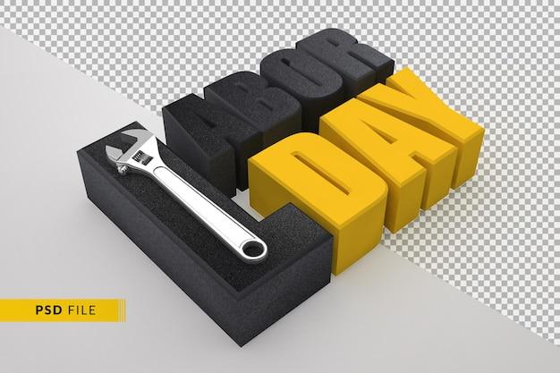 Концепция празднования дня труда с ручным инструментом 3d гаечный ключ, изолированный шаблон