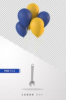 Празднование дня труда с воздушными шарами, плавающими с гаечным ключом, 3d визуализация