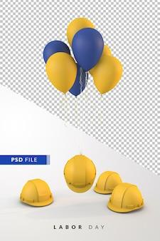 Празднование дня труда с воздушными шарами, плавающими с желтыми касками, 3d визуализация