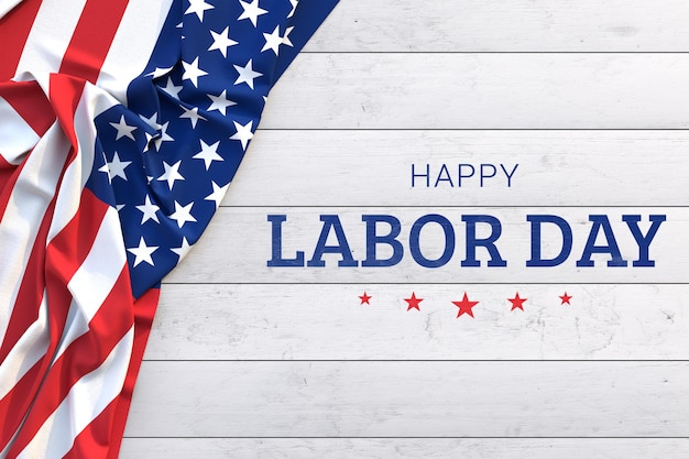 Labor day mockup with american flag