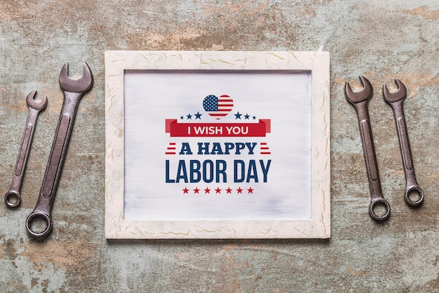 Labor day mockup with frame and objects