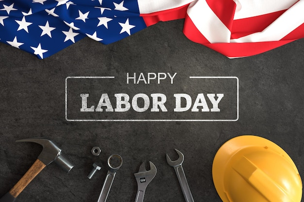 Labor day mockup with hand tools and american flag