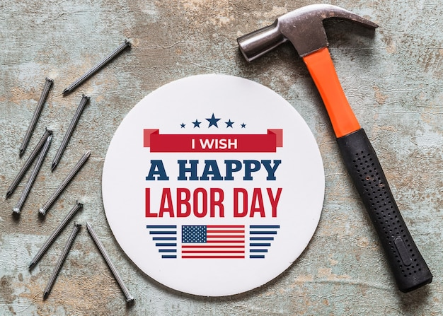 Labor day mockup with round cover