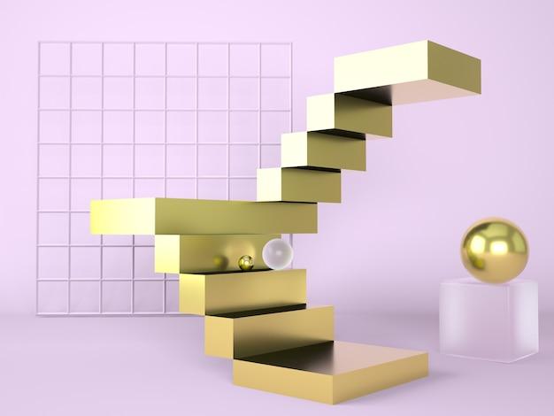 Лестница с подиумом, 3d рендеринг