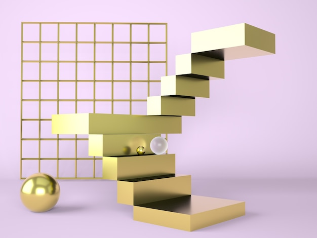 Лестница с подиумом для отображения в 3d рендеринге