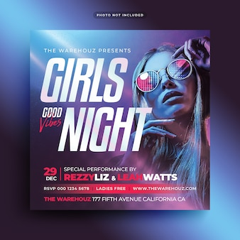 Ladies night party flyer social media post and web banner