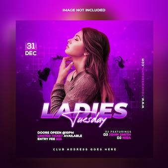Ladies night party web banner template