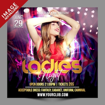 Ladies night psd social media promotion template