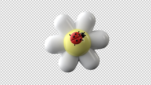 Ladybug on chamomile isolated. hello spring,  summer. 3d rendering