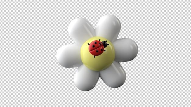カモミールのてんとう虫が分離されました。こんにちは春、夏。 3dレンダリング
