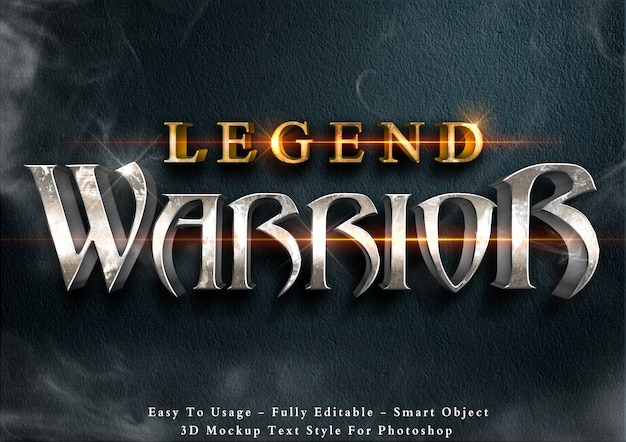 Lagend warriors - editable 3d text style effect