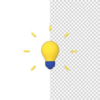 ランプ電球3dモデルレンダリングアイコンシンボルアイデア孤立した背景
