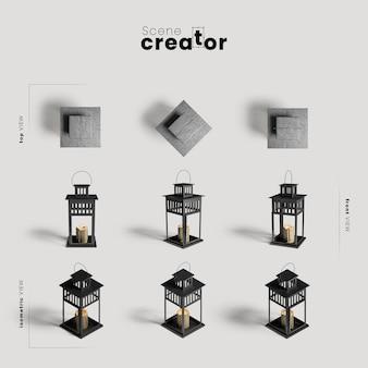 Лампа со свечой разнообразных ракурсов создателя сцены хэллоуина