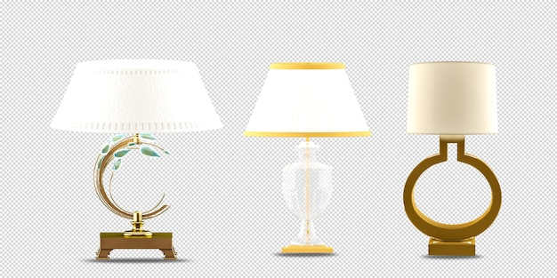 Lamps in vase in 3d rendering isolated