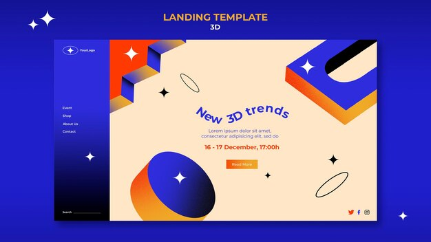 Pagina di destinazione per le tendenze 3d