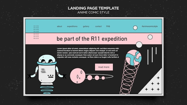 Landing page anime comic style template