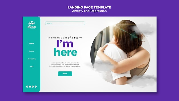 Landing page anxiety and depression template Free Psd