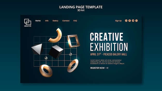 Landing page for art exhibition with creative three-dimensional shapes