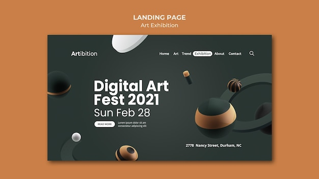 Landing page for art exhibition with geometric shapes