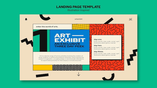 Landing page for art exhibition Free Psd