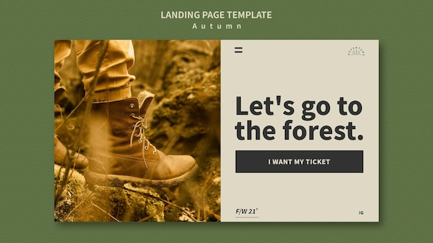 Landing page for autumn adventure in the forest