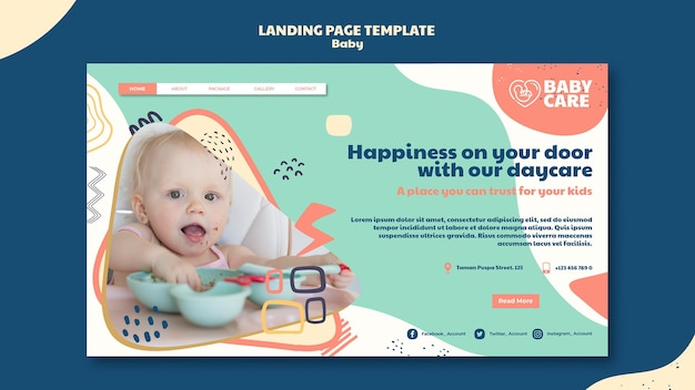 Landing page for baby care professionals